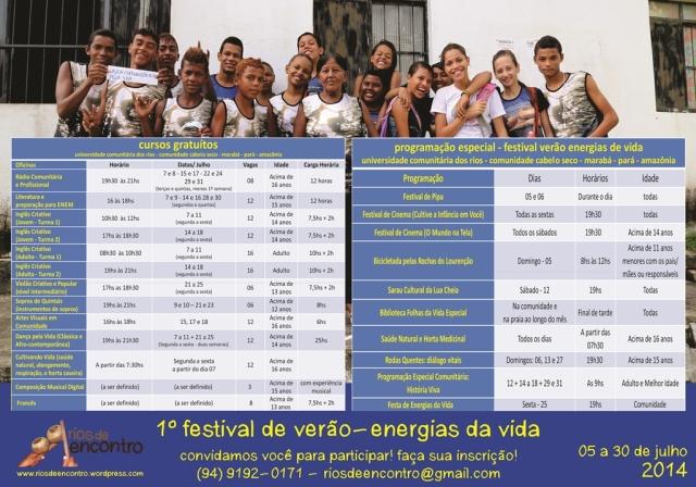 Cursos e Eventos do Festival de Verão (panfleto)