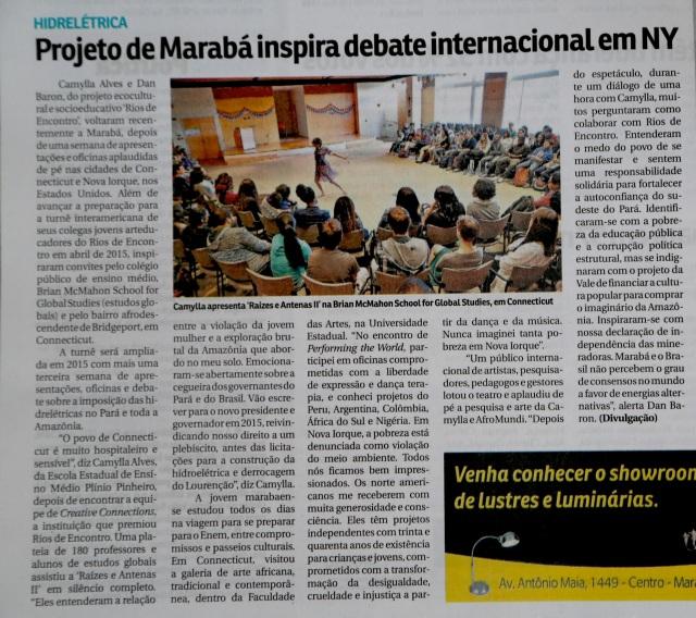 Matéria do jornal Correio de Tocantins, 23 de outubro de 2014.