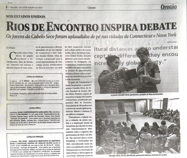 Metade da atéria do jornal Opinião, do dia 18 de outubro de 2014.