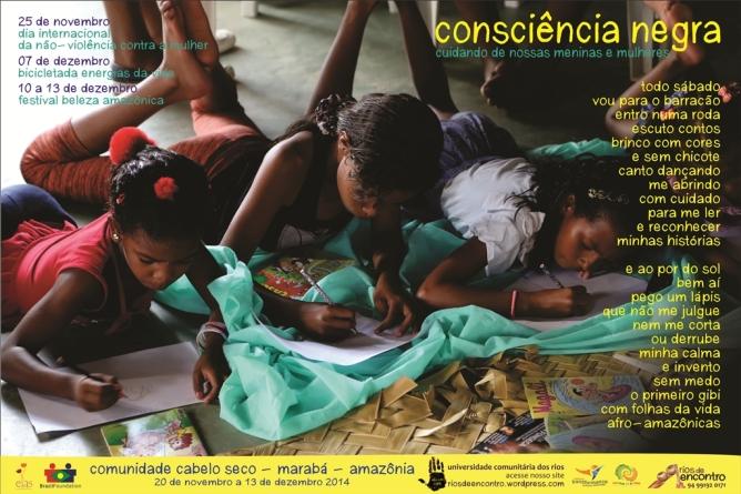 Uma imagem e poema de nossa biblioteca comunitária Folhas da Vida celebra consciência afro- ecológica na Galeria do Povo, no dia de Consciência    Negra.