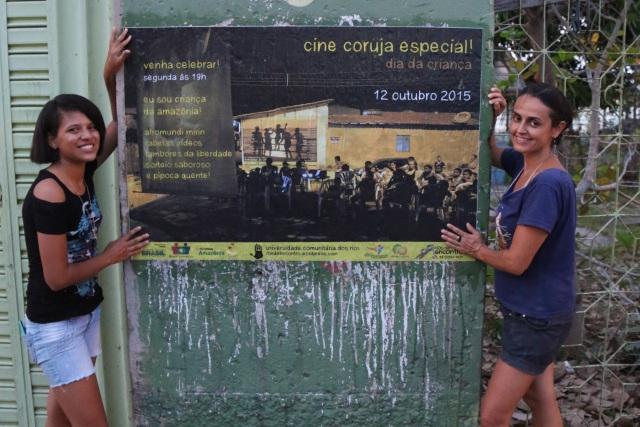 Carol Souza (co-coordenadora do Cine Coruja) e Mano Souza completam a divulgação do Dia da Criança 2015.